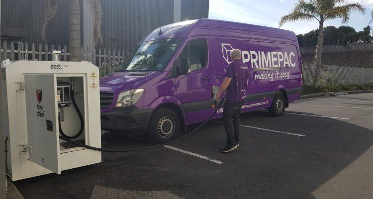 Primepac purple van being filled by Fuelchief DC Series diesel fuel tank