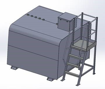 Drawing of rectangular tank with access platform