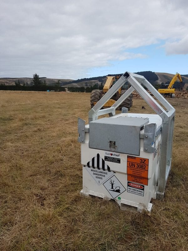 close up view of Fuelchief TransCube fuel tank at Logging site in New Zealand