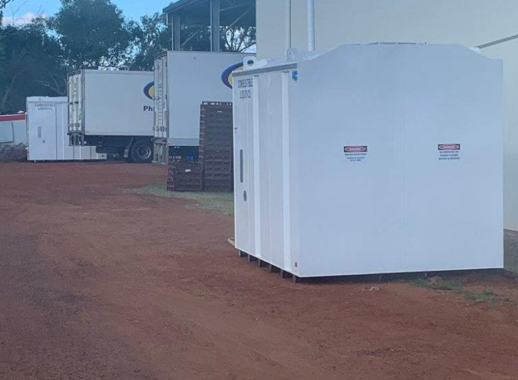 DC100 Tank on site - back view of diesel tank at Warrego Food Service