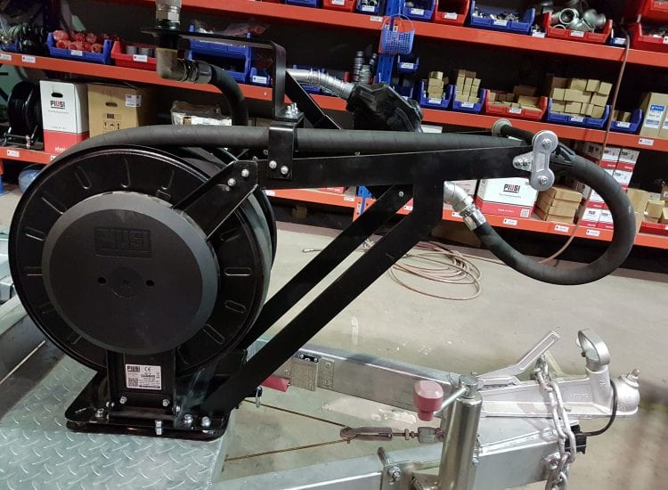 Hose reel for TransCube fuel tank at Fuelchief HQ