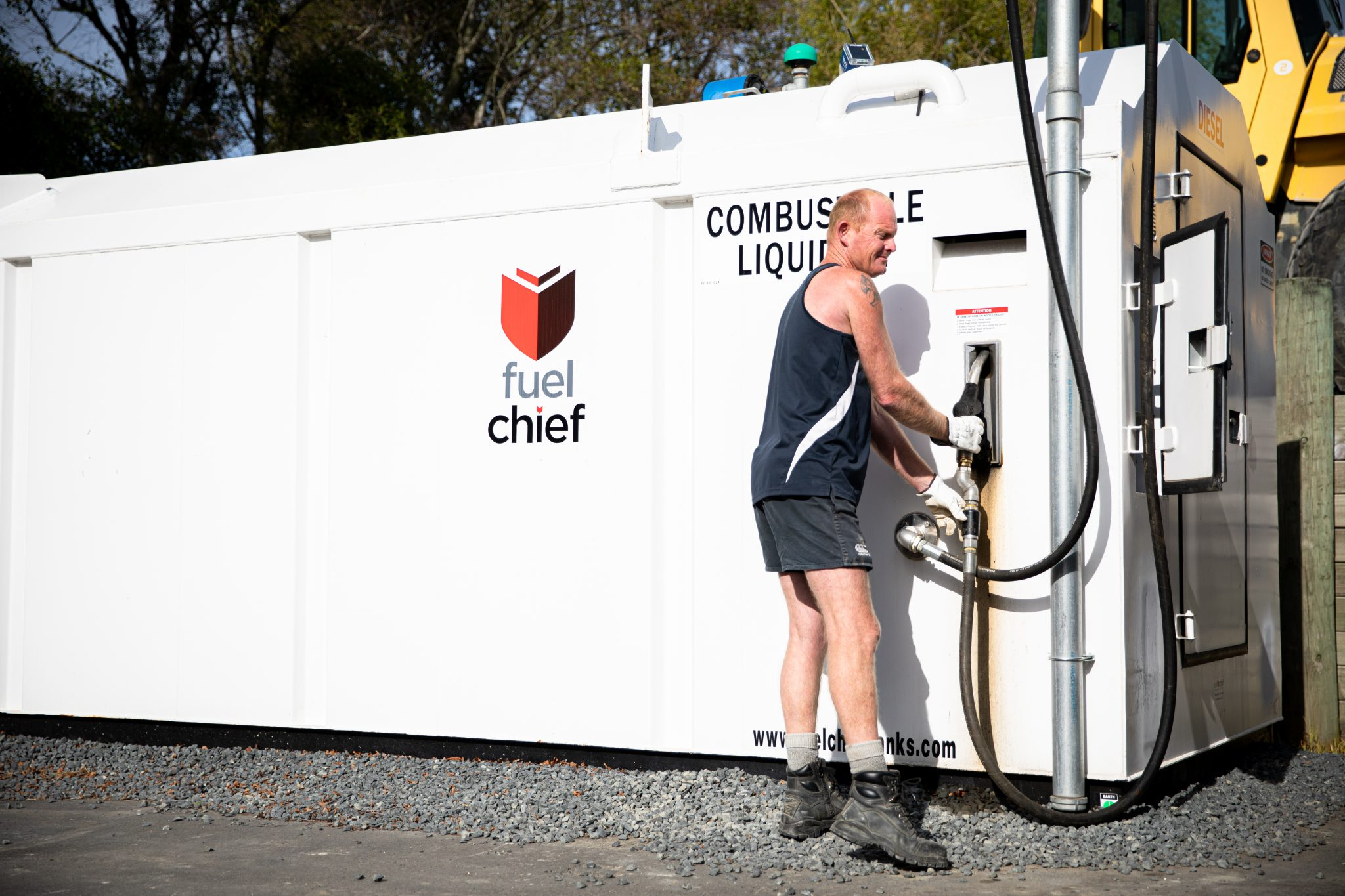 Skip Golden Filling Up Fuelchief Tank at Golden Contracting New Zealand